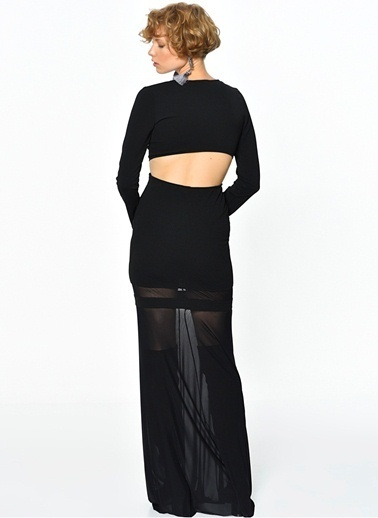 Tfnc Uzun Abiye Elbise Siyah